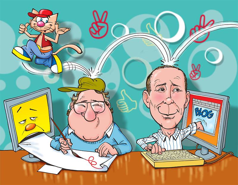 Albareda working team, caricatura di Roberto Albertoni del team di lavoro