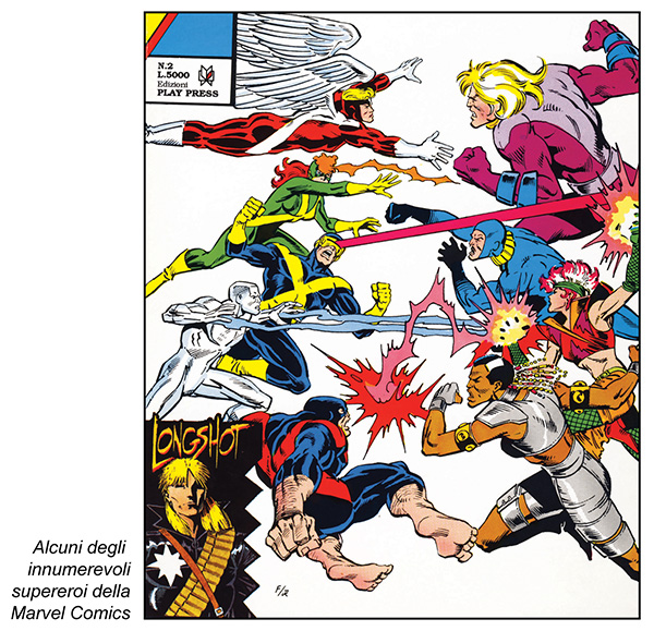 La scuola anglosassone: alcuni degli innumerevoli supereroi della Marvel Comics